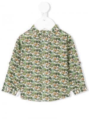 Рубашка с принтом машин Cashmirino. Цвет: зеленый