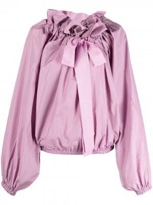 Поплиновая блузка с оборками на воротнике Patou. Цвет: фиолетовый