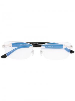 Оптические очки в квадратной оправе Bulgari. Цвет: черный