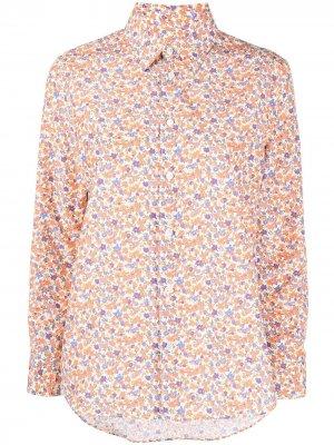 Рубашка с цветочным принтом и длинными рукавами A.P.C.. Цвет: оранжевый