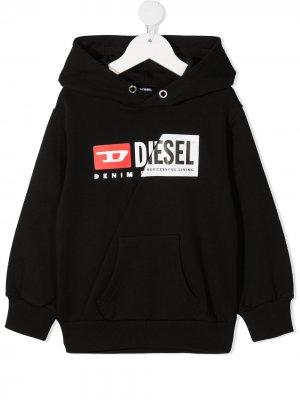 Худи с логотипом Diesel Kids. Цвет: черный