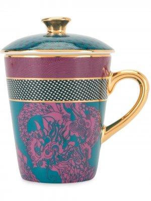Кружка и блюдце Vivid Dragon Shanghai Tang. Цвет: фиолетовый