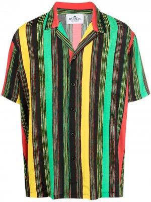 Полосатая рубашка с короткими рукавами Waxman Brothers. Цвет: желтый