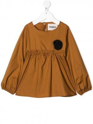 Расклешенная блузка с оборками Touriste. Цвет: коричневый