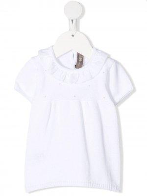 Трикотажное платье с короткими рукавами Little Bear. Цвет: белый