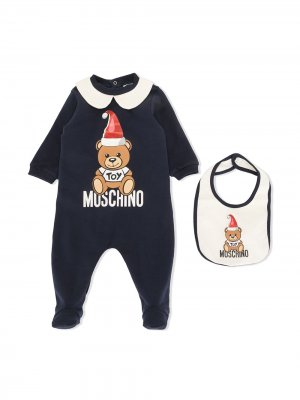 Комплект Teddy Bear из пижамы и нагрудника Moschino Kids. Цвет: синий