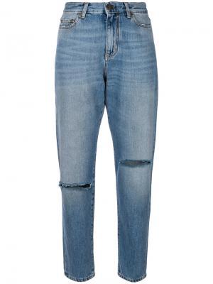 Зауженные джинсы с разрезами Saint Laurent. Цвет: синий