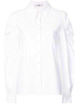 Рубашка с присборенными плечами Watts Oxford Tibi. Цвет: белый