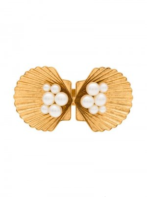 Заколка для волос в виде ракушек с жемчугом Jennifer Behr. Цвет: золотистый