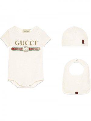 Комплект для новорожденного с логотипом Gucci Kids. Цвет: белый