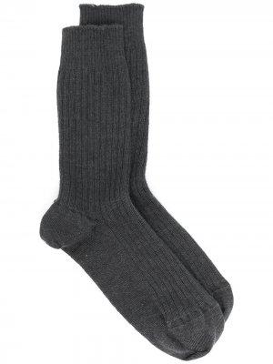 Кашемировые носки в рубчик Baserange. Цвет: серый