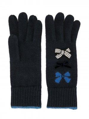 Перчатки в рубчик с бантами Familiar. Цвет: синий