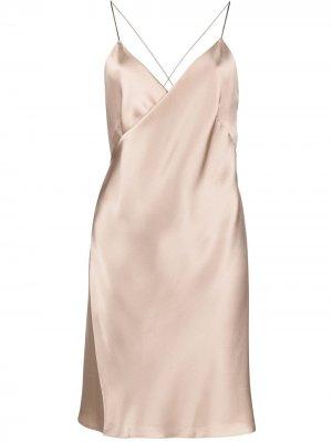 Платье мини с запахом Michelle Mason. Цвет: коричневый