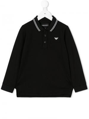 Long sleeve polo shirt Emporio Armani Kids. Цвет: черный