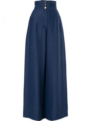 Классические брюки палаццо Maison Rabih Kayrouz. Цвет: синий