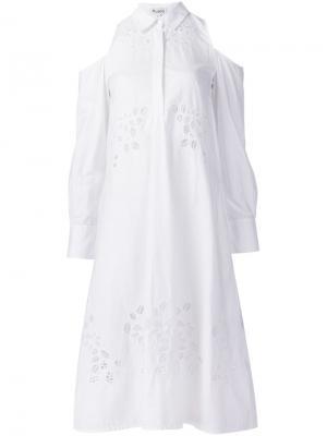 Платье с вырезами на плечах Suno. Цвет: белый