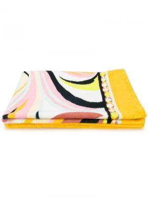 Пляжное полотенце с абстрактным рисунком Emilio Pucci. Цвет: желтый