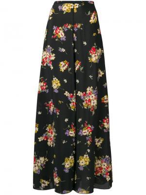 Расклешенная юбка макси с цветочным принтом Forte. Цвет: черный