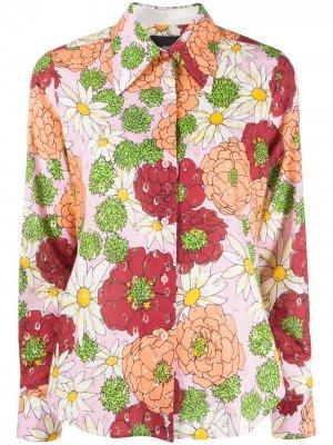 Рубашка с цветочным принтом и эффектом металлик Marc Jacobs. Цвет: розовый