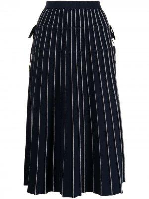 Плиссированная юбка миди Raelynn Jonathan Simkhai. Цвет: синий