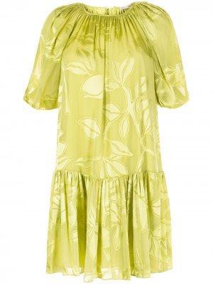 Платье мини с принтом и складками Stine Goya. Цвет: зеленый