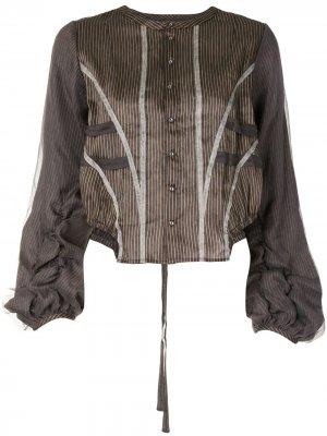 Блузка асимметричного кроя в тонкую полоску Renli Su. Цвет: коричневый