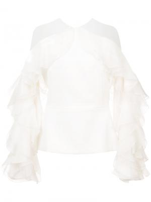 Блузка с рюшами Marchesa. Цвет: белый