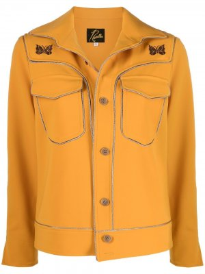 Куртка-рубашка с цепочным декором Needles. Цвет: желтый