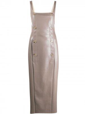 Платье из искусственной кожи Nanushka. Цвет: серый