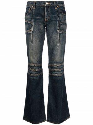 Расклешенные джинсы с эффектом потертости Junya Watanabe Comme des Garçons Pre-Owned. Цвет: синий