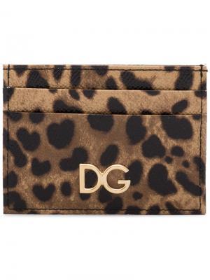 Картхолдер с леопардовым принтом Dolce & Gabbana. Цвет: коричневый