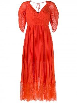 Плиссированное платье миди Self-Portrait. Цвет: оранжевый