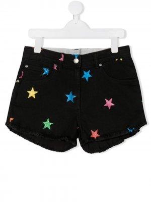 Джинсовые шорты с принтом Stella McCartney Kids. Цвет: черный