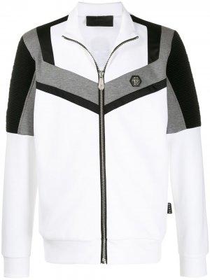 Спортивная куртка в стиле колор-блок Philipp Plein. Цвет: белый
