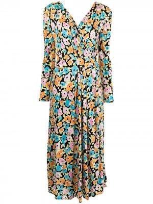 Платье с запахом и цветочным принтом Stine Goya. Цвет: разноцветный