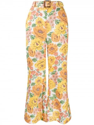 Расклешенные брюки Poppy с цветочным принтом Zimmermann. Цвет: желтый