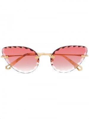 Солнцезащитные очки в оправе кошачий глаз Chloé Eyewear. Цвет: золотистый
