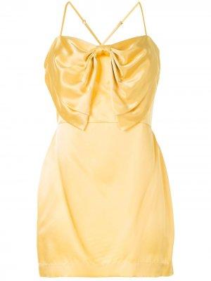 Коктейльное платье с бантом Michelle Mason. Цвет: желтый