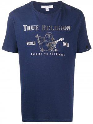 Футболка с графичным принтом True Religion. Цвет: синий