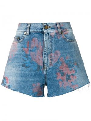 Джинсовые шорты с цветочным принтом Saint Laurent. Цвет: синий