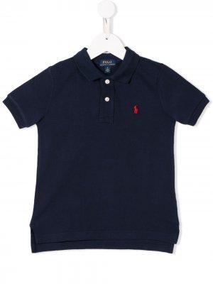 Рубашка-поло с вышитым логотипом Ralph Lauren Kids. Цвет: синий
