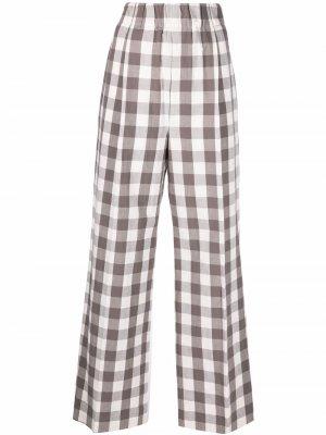 Клетчатые брюки широкого кроя Jejia. Цвет: серый
