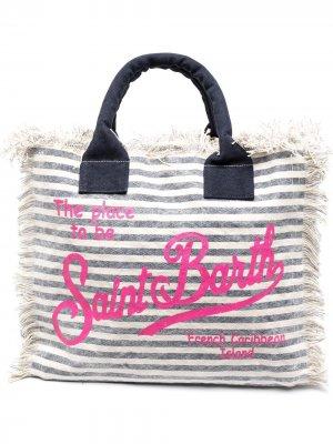 Пляжная сумка в полоску с логотипом Mc2 Saint Barth. Цвет: синий