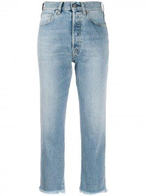 Укороченные джинсы с бахромой Golden Goose. Цвет: синий