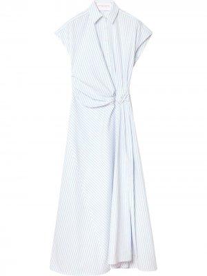 Платье-рубашка в полоску с короткими рукавами Carolina Herrera. Цвет: синий