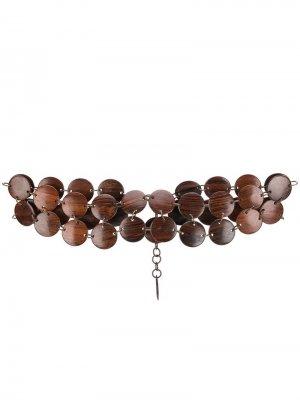 Деревянный пояс-ожерелье 1970-х годов Yves Saint Laurent Pre-Owned. Цвет: коричневый