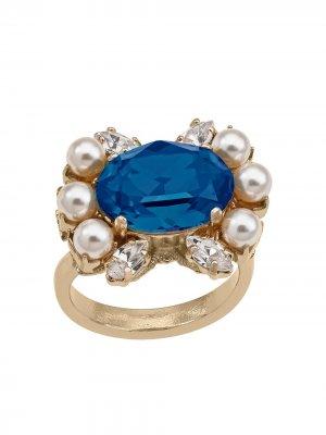 Кольцо с кристаллами и жемчугом Anton Heunis. Цвет: синий
