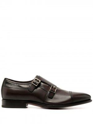 Туфли монки с ремешками Santoni. Цвет: коричневый