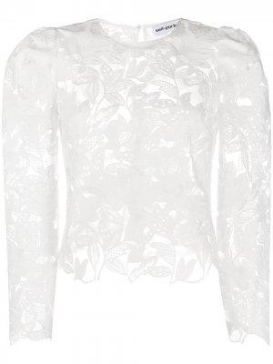 Блузка с цветочным узором и оборками Self-Portrait. Цвет: белый