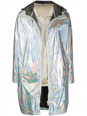Куртка-пальто со съемным верхом Yves Salomon. Цвет: серебристый